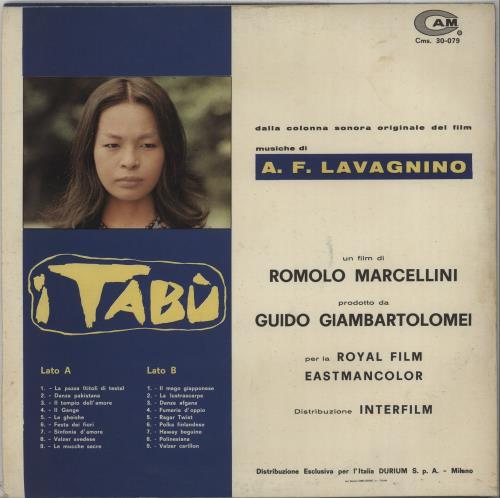 Angelo Francesco Lavagnino I Tabu vinyl LP album (LP record) Italian BQPLPIT667860