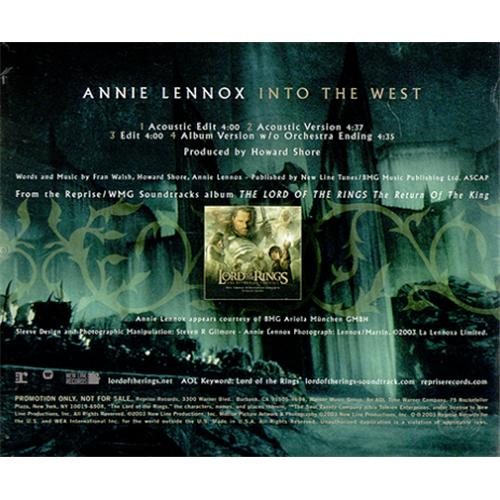 """Annie Lennox Into The West CD single (CD5 / 5"""") US ANNC5IN306284"""