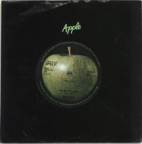 "Badfinger No Matter What - Solid Centre - VG 7"" vinyl single (7 inch record) UK BDF07NO267055"