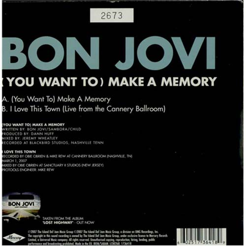 "Bon Jovi (You Want To) Make A Memory 7"" vinyl single (7 inch record) UK BON07YO401486"