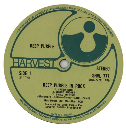Deep Purple In Rock - 1st - EX vinyl LP album (LP record) UK DEELPIN133567