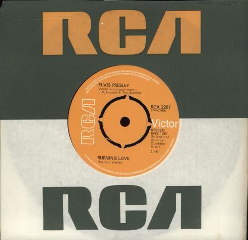"""Elvis Presley Burning Love - 4pr 7"""" vinyl single (7 inch record) UK ELV07BU350893"""