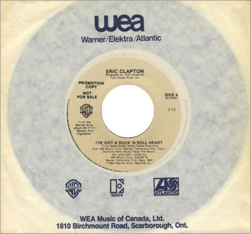 "Eric Clapton I've Got A Rock 'N' Roll Heart 7"" vinyl single (7 inch record) Canadian CLP07IV181602"