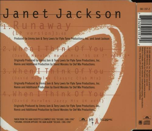 "Janet Jackson Runaway CD single (CD5 / 5"") Australian J-JC5RU52590"