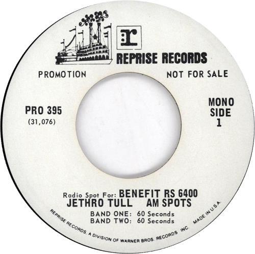 "Jethro Tull Radio Spot For: Benefit 7"" vinyl single (7 inch record) US TUL07RA672473"