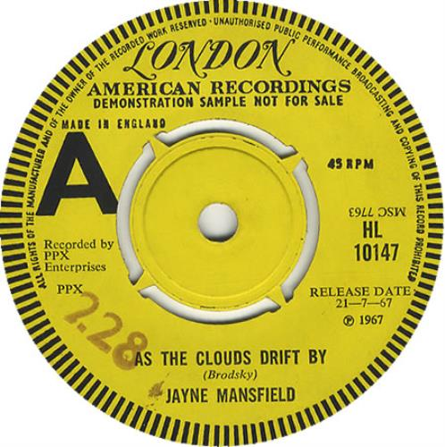 "Jimi Hendrix As The Clouds Drift By With Jayne Mansfield 7"" vinyl single (7 inch record) UK HEN07AS406844"