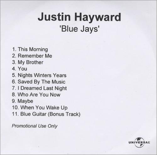 Justin Hayward Blue Jays CD-R acetate UK JHWCRBL276800