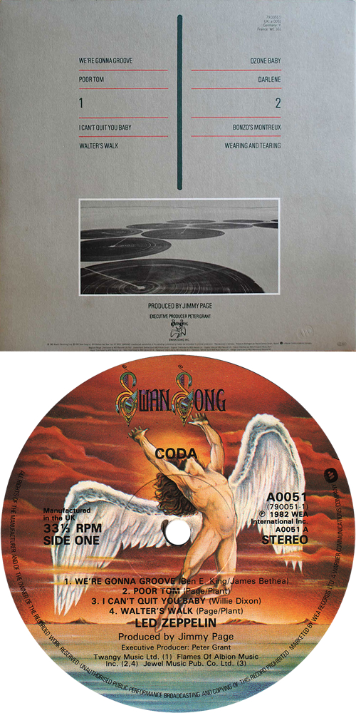 Led Zeppelin Coda vinyl LP album (LP record) UK ZEPLPCO210273