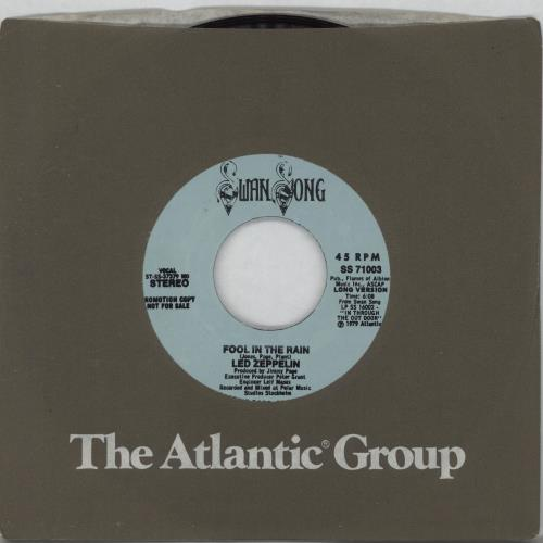"Led Zeppelin Fool In The Rain 7"" vinyl single (7 inch record) US ZEP07FO69366"