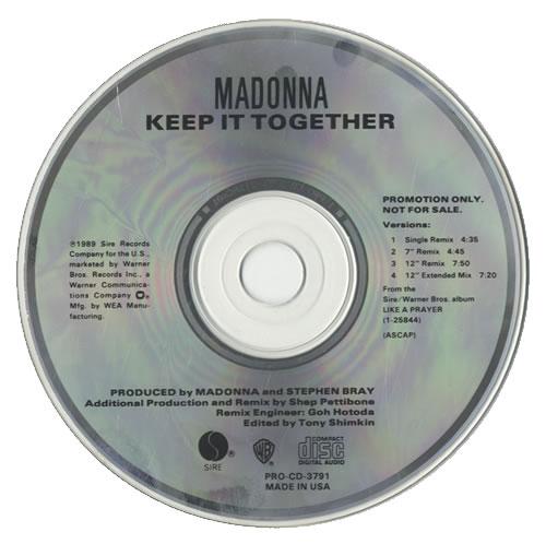 "Madonna Keep It Together CD single (CD5 / 5"") US MADC5KE03698"