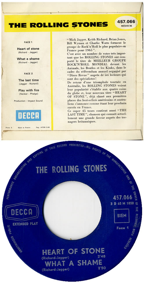 "Rolling Stones Heart Of Stone EP - 1st 7"" vinyl single (7 inch record) French ROL07HE585785"
