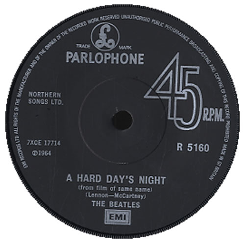"The Beatles A Hard Day's Night - 1976 Issue - Solid 7"" vinyl single (7 inch record) UK BTL07AH592377"