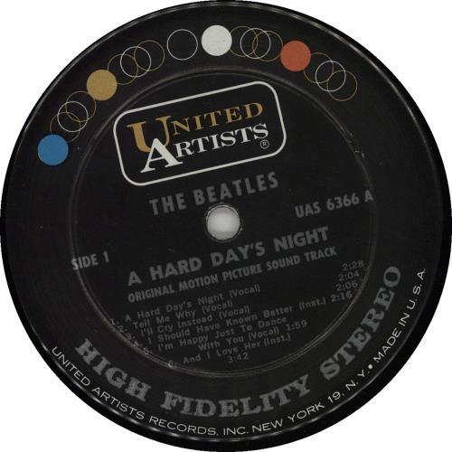 The Beatles A Hard Day's Night - 1st - I'll Cry label vinyl LP album (LP record) US BTLLPAH670956