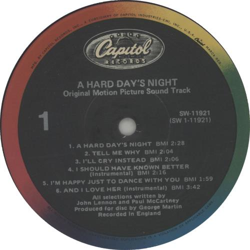The Beatles A Hard Day's Night vinyl LP album (LP record) US BTLLPAH662821