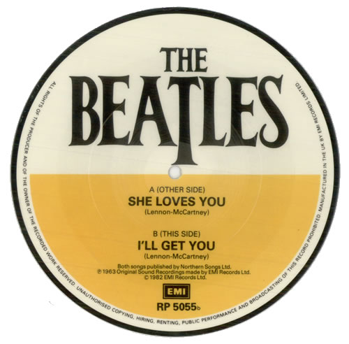 """The Beatles She Loves You 7"""" vinyl picture disc 7 inch picture disc single UK BTL7PSH63227"""