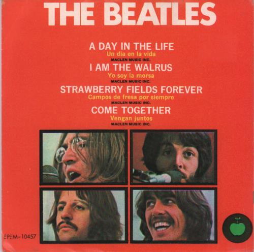 "The Beatles Un Dia En La Vida - A Day In The Life - 2nd 7"" vinyl single (7 inch record) Mexican BTL07UN500955"