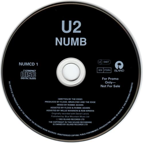 "U2 Numb - Rare Promo CD single (CD5 / 5"") UK U-2C5NU19717"