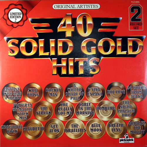 Various-60s & 70s 40 Solid Gold Hits 2-LP vinyl record set (Double Album) UK SVA2LSO558625