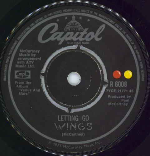 "Paul McCartney and Wings Letting Go 1975 UK 7"" vinyl R6008"