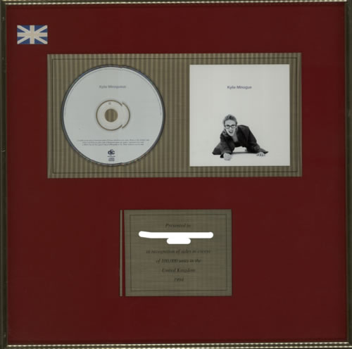 Kylie Minogue Kylie Minogue  Gold Award 1994 UK inhouse award disc GOLD AWARD