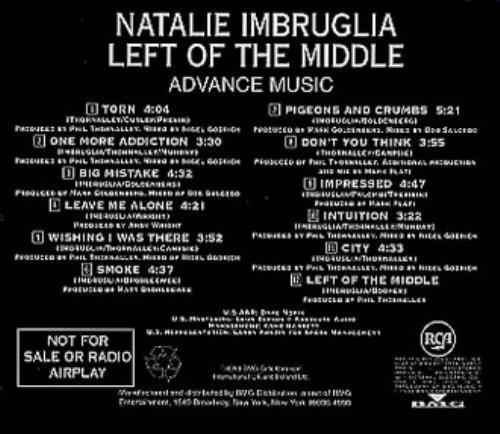 Image of Natalie Imbruglia Left Of The Middle 1998 USA CD album RADV-67634-2