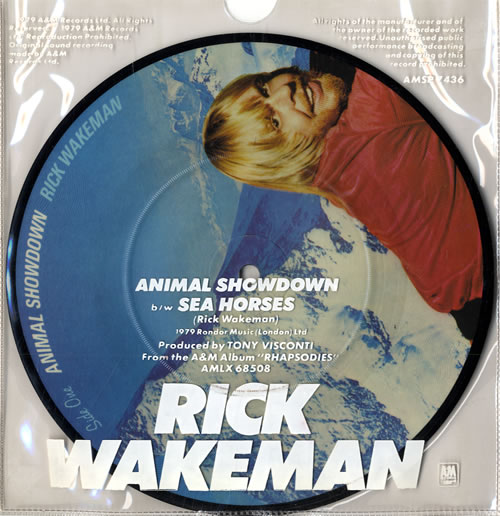 Rick Wakeman Animal Showdown  PVC sleeve 1979 UK 7 picture disc AMSP7436