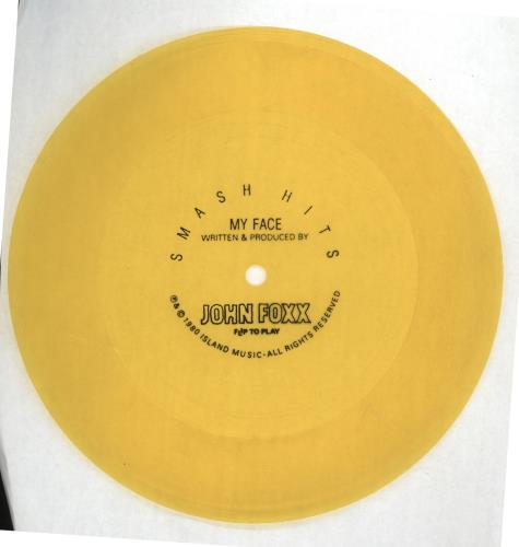 John Foxx My Face  Yellow Flexi 1980 UK 7 vinyl FLEXI