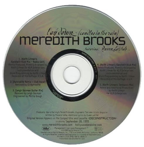 Meredith Brooks Lay Down (candles In The Rain) 1999 USA CD single DPRO138582