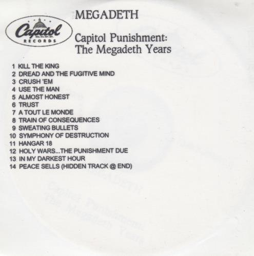 Megadeth Capitol Punishment  The Megadeth Years 2000 UK CDR acetate CD ACETATE