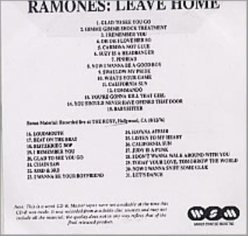 The Ramones Leave Home 2001 UK CDR acetate CD ACETATE
