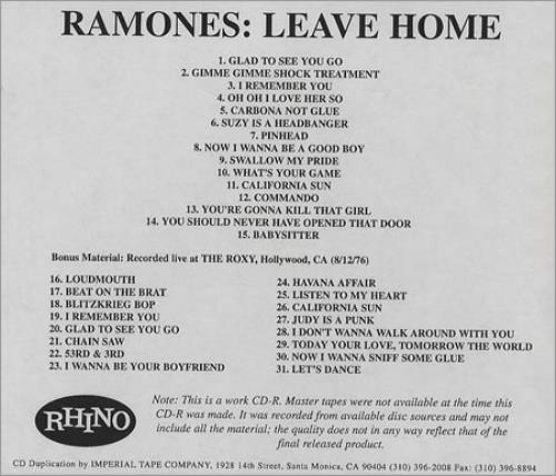 The Ramones Leave Home 2001 USA CDR acetate CD ACETATE
