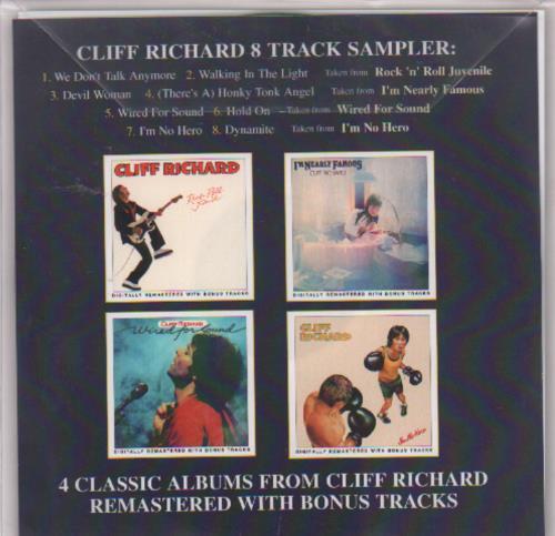 Cliff Richard 8 Track Sampler 1 2001 UK CDR acetate CDR