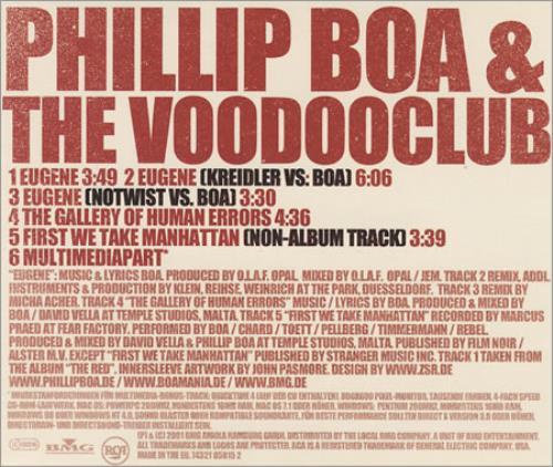 Image of Phillip Boa & the voodoo club Eugene 2001 European CD single 85815-2