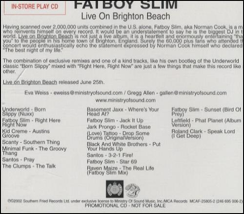 Fatboy Slim - Live On Brighton Beach CD
