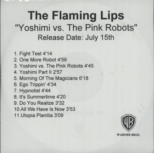 The Flaming Lips Yoshimi Battles The Pink Robots 2002 UK CD-R acetate CD-R ACETATE