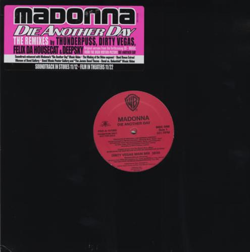 Madonna Die Another Day  TheMixes part 1 2002 USA 12 vinyl PROA101005