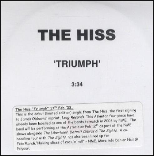 The Hiss Triumph 2003 UK CDR acetate CD ACETATE