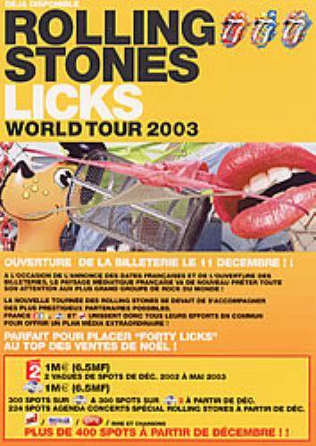 Rolling Stones Deja Disponible Rolling Stones Licks World Tour 2003 2003 French handbill PRESENTER