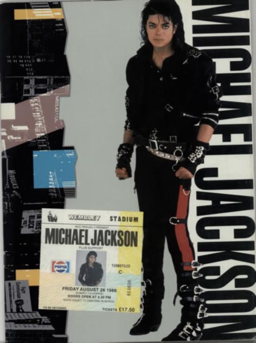 Michael Jackson World Tour 1988  Ticket Stub 1988 UK tour programme TOUR PROGRAMME