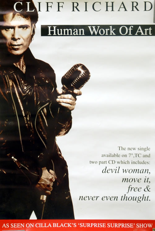 Cliff Richard Human Work Of Art 1993 UK poster 20 X 13