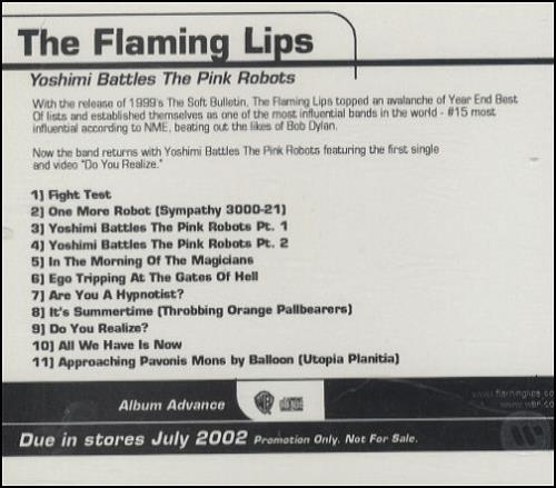 The Flaming Lips Yoshimi Battles The Pink Robots 2002 USA CD album 2A-48141-A