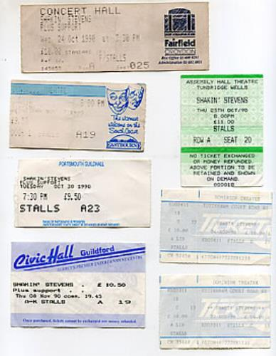 Shakin Stevens Set Of 1990 Concert Tickets 1990 UK concert ticket TICKETS