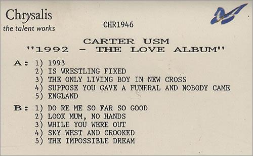 Carter USM 1992  The Love Album 1992 UK cassette album PROMO CASSETTE