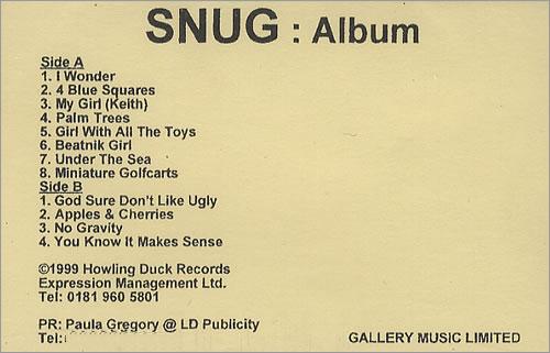 Snug Album 1999 UK cassette album PROMO CASSETTE