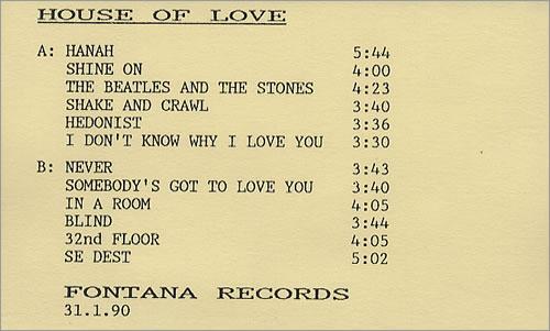 The House Of Love Album 1990 UK cassette album PROMO CASSETTE