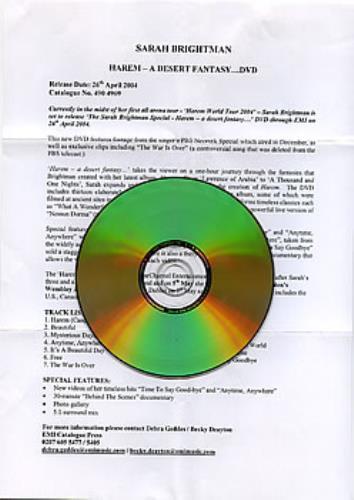 Sarah Brightman Harem  A Desert Fantasy 2004 UK DVD PROMO DVD TEST DISC