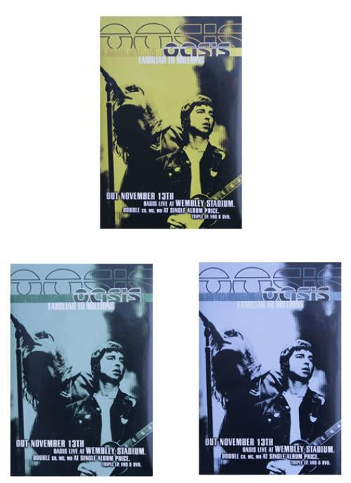 Oasis Familiar To Millions  Set of 3 Promo Posters 2000 UK poster PROMO POSTERS