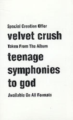 Velvet Crush Velvet Crush Sampler 1994 UK cassette single CCRE130SAMPLER