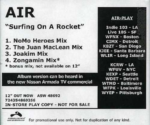 Air (French) Surfing On A Rocket  Remixes 2004 USA CDR acetate CDR ACETATE