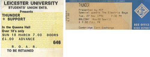 Thunder Set Of 2 Concert Tickets 1990 UK concert ticket CONCERT TICKETS